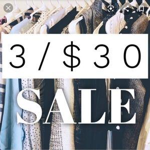 3/$30 SALE! Tops, pants, skirts, shorts sm, Lg, XL